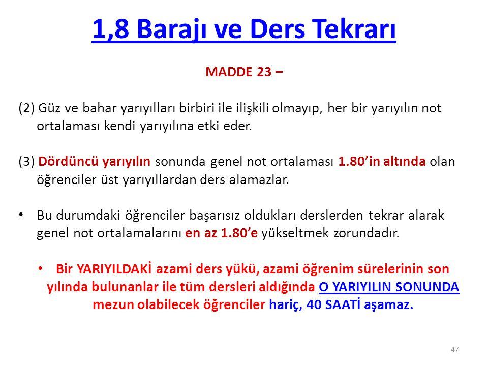1,8 Barajı ve Ders Tekrarı MADDE 23 –