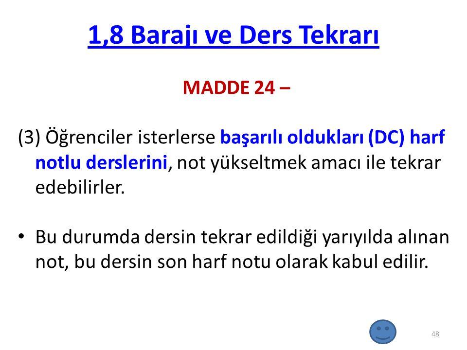 1,8 Barajı ve Ders Tekrarı MADDE 24 –
