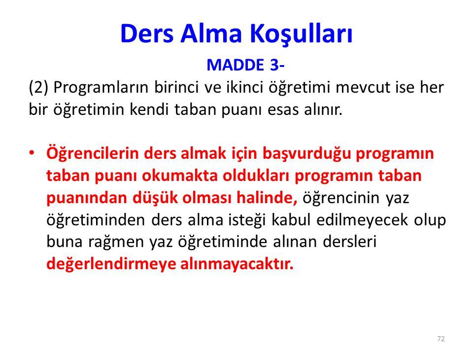 Ders Alma Koşulları MADDE 3-