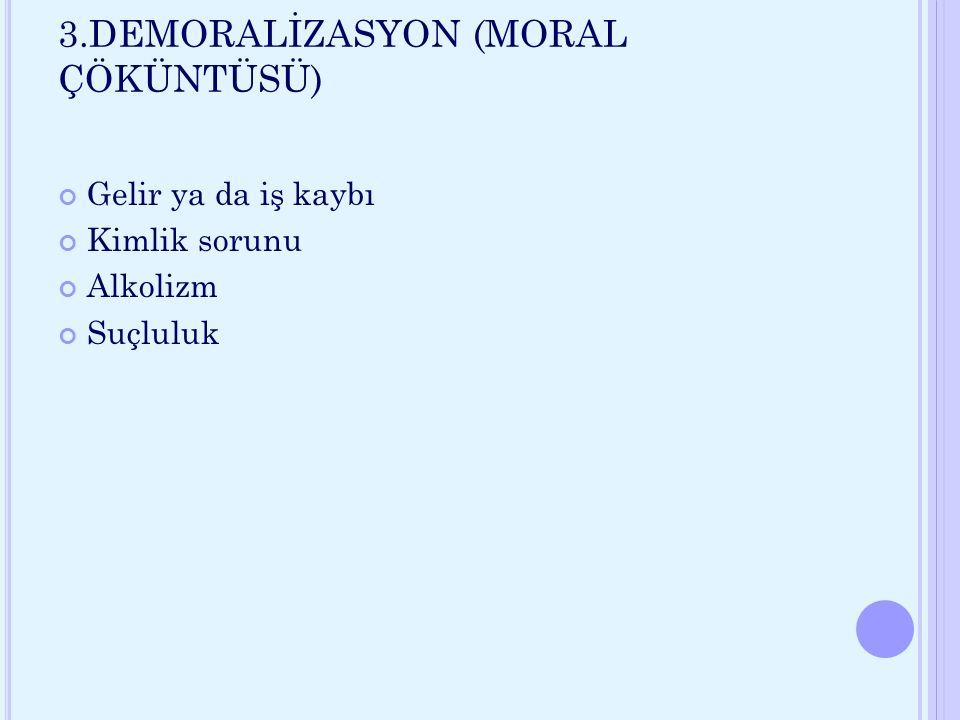 3.DEMORALİZASYON (MORAL ÇÖKÜNTÜSÜ)