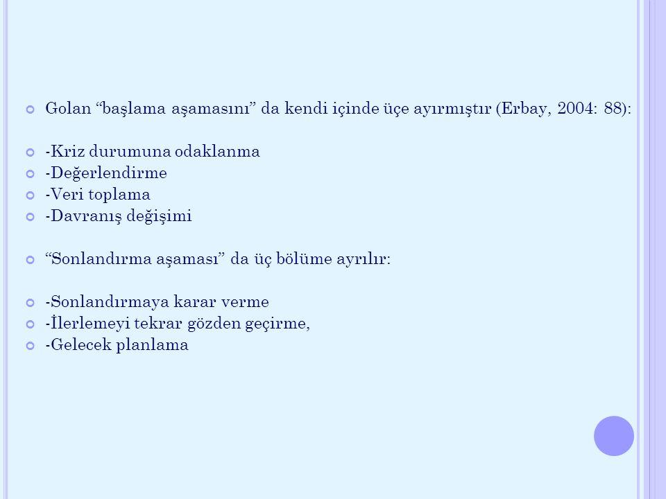 Golan başlama aşamasını da kendi içinde üçe ayırmıştır (Erbay, 2004: 88):