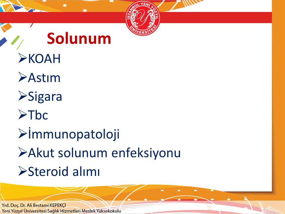 Solunum KOAH Astım Sigara Tbc İmmunopatoloji Akut solunum enfeksiyonu