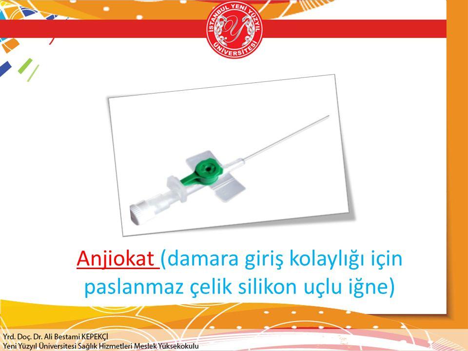 Anjiokat (damara giriş kolaylığı için paslanmaz çelik silikon uçlu iğne)