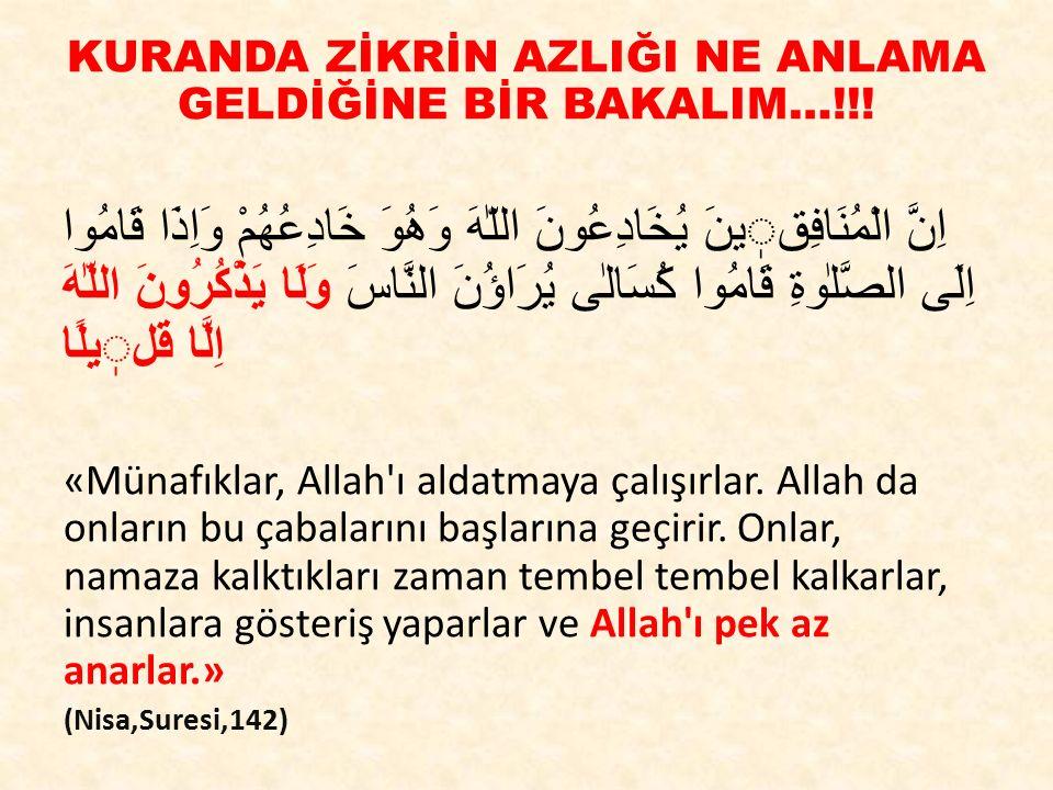 KURANDA ZİKRİN AZLIĞI NE ANLAMA GELDİĞİNE BİR BAKALIM…!!!