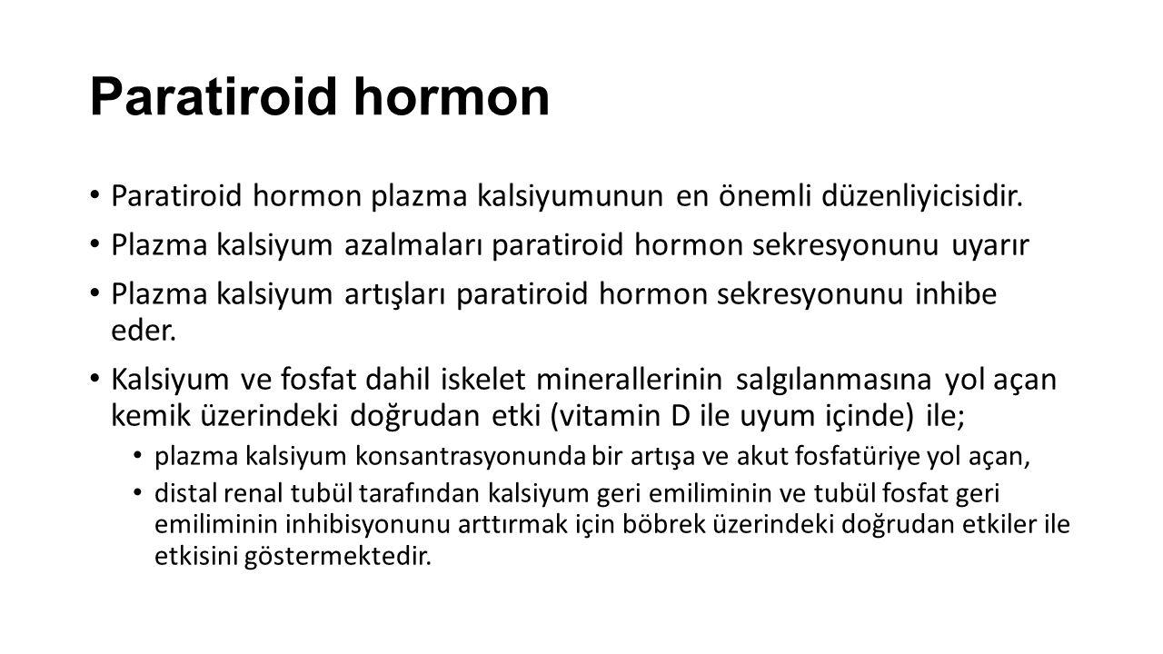 Paratiroid hormon Paratiroid hormon plazma kalsiyumunun en önemli düzenliyicisidir. Plazma kalsiyum azalmaları paratiroid hormon sekresyonunu uyarır.