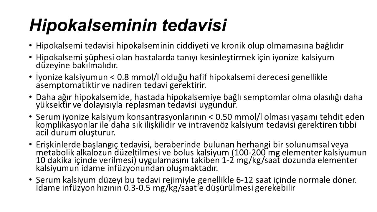 Hipokalseminin tedavisi