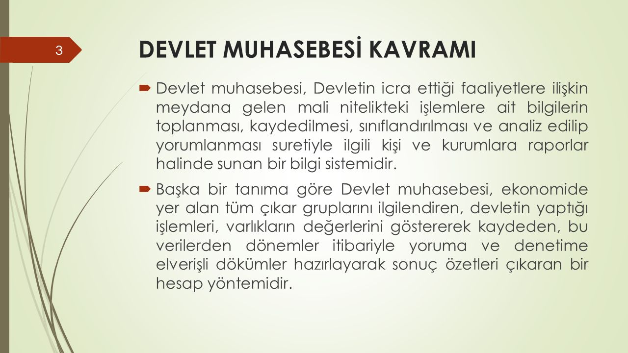 DEVLET MUHASEBESİ KAVRAMI