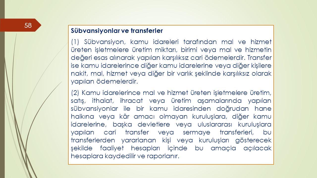 Sübvansiyonlar ve transferler
