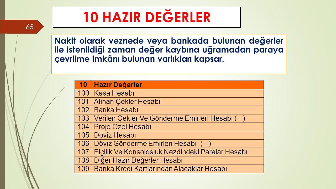 10 HAZIR DEĞERLER