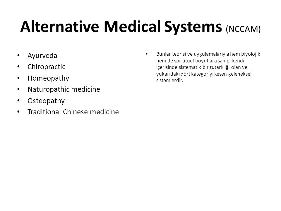 Alternative Medical Systems (NCCAM)