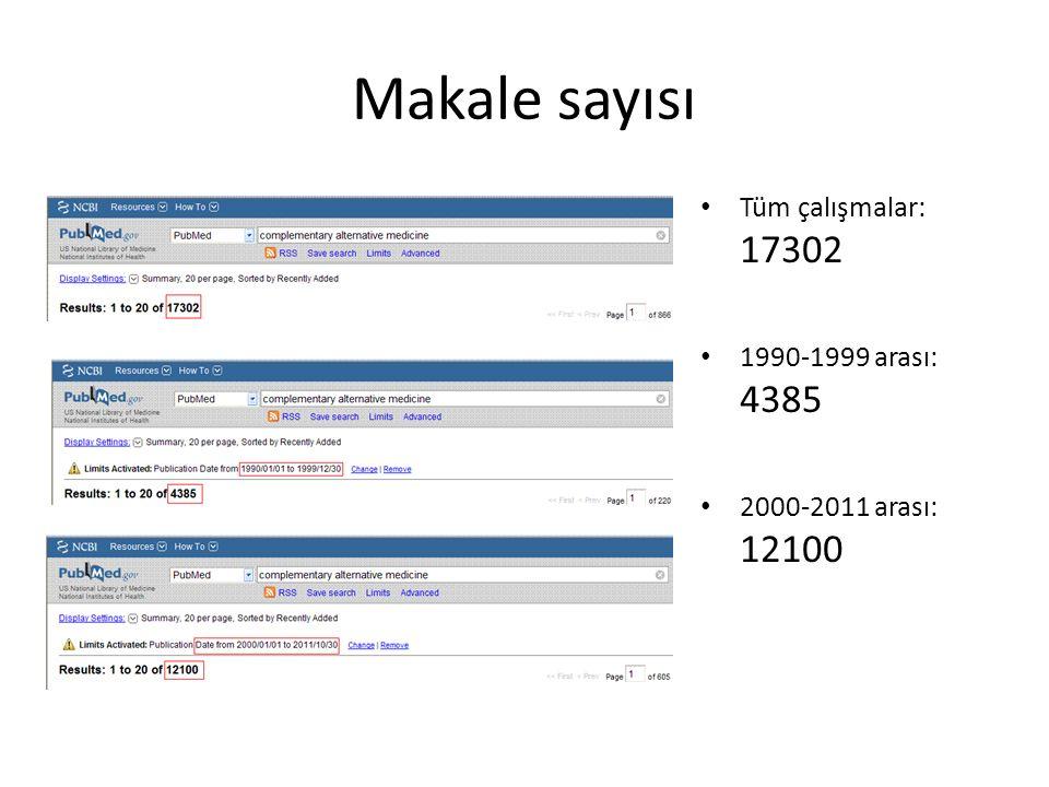 Makale sayısı Tüm çalışmalar: 17302 1990-1999 arası: 4385