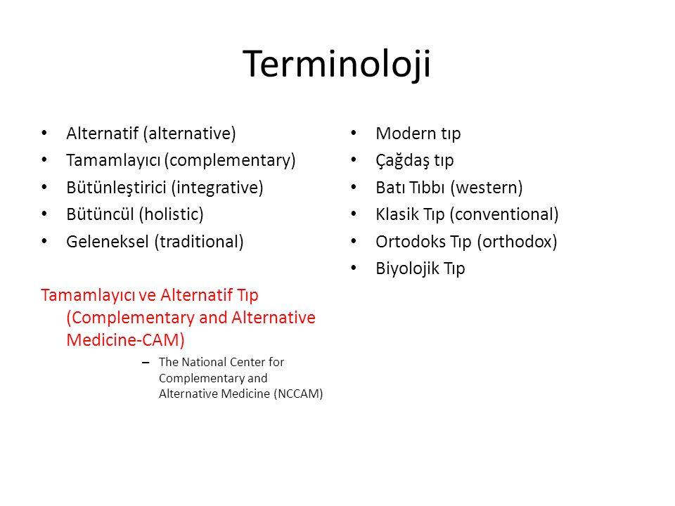 Terminoloji Alternatif (alternative) Tamamlayıcı (complementary)