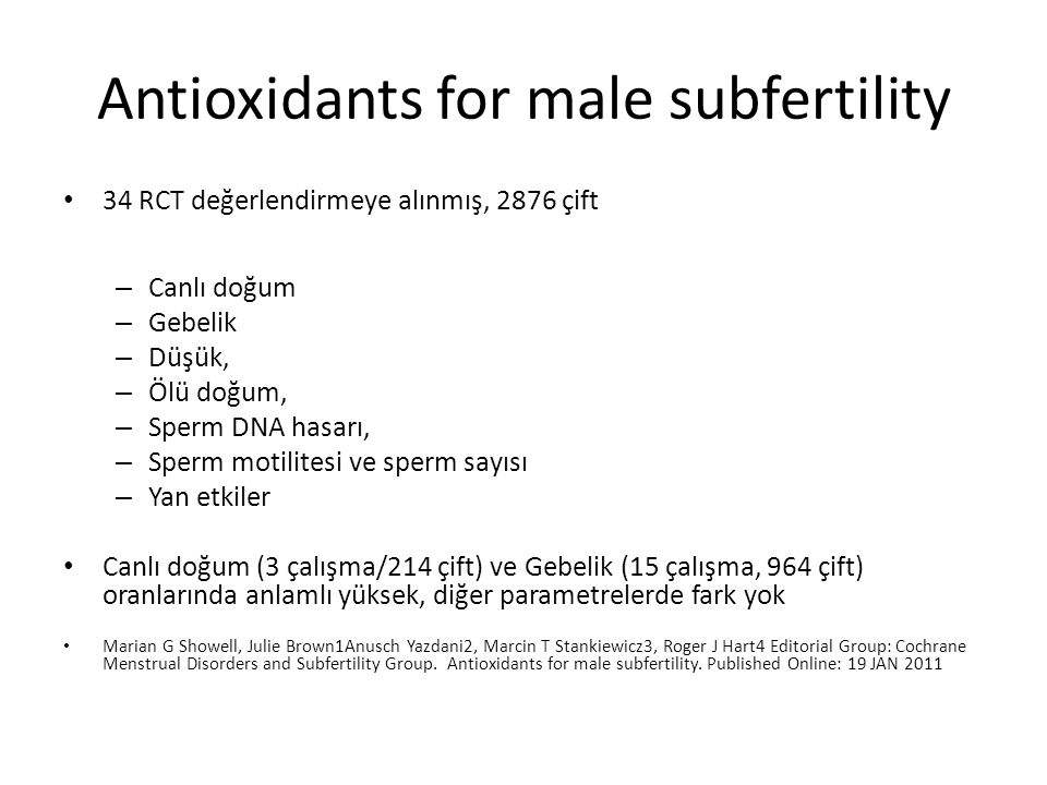 Antioxidants for male subfertility
