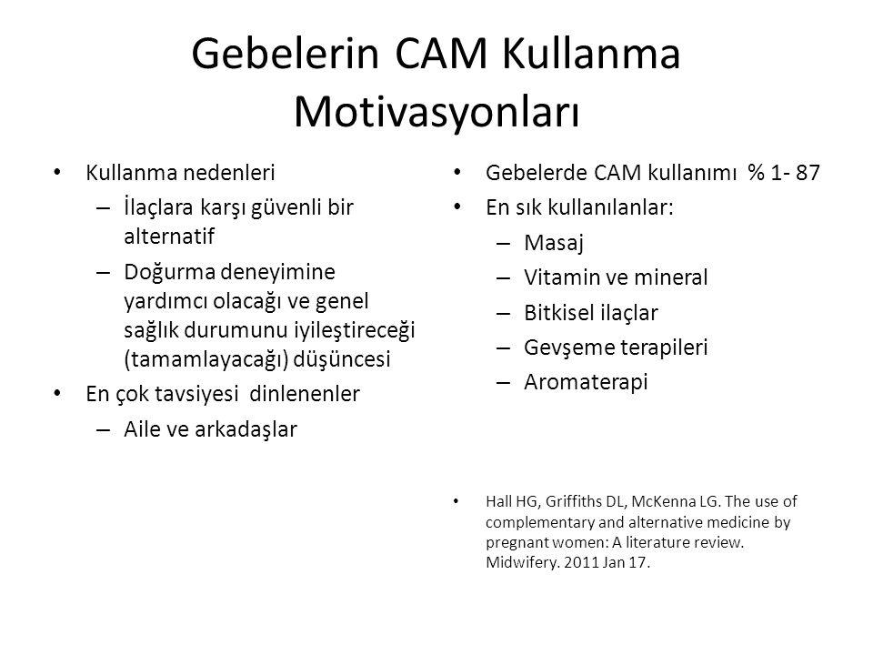 Gebelerin CAM Kullanma Motivasyonları