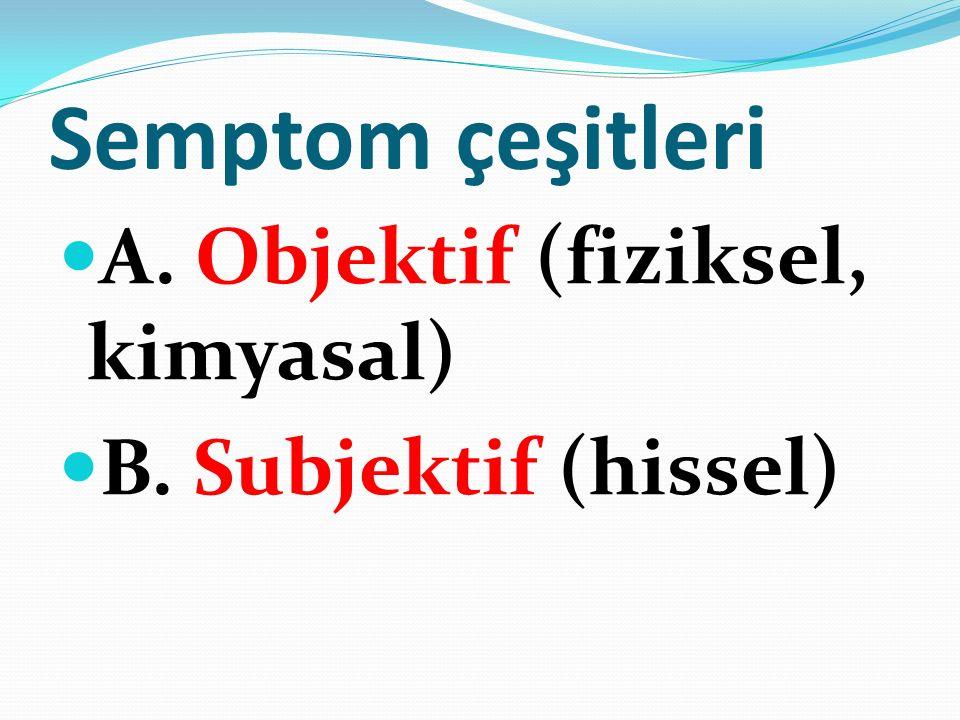 Semptom çeşitleri A. Objektif (fiziksel, kimyasal)
