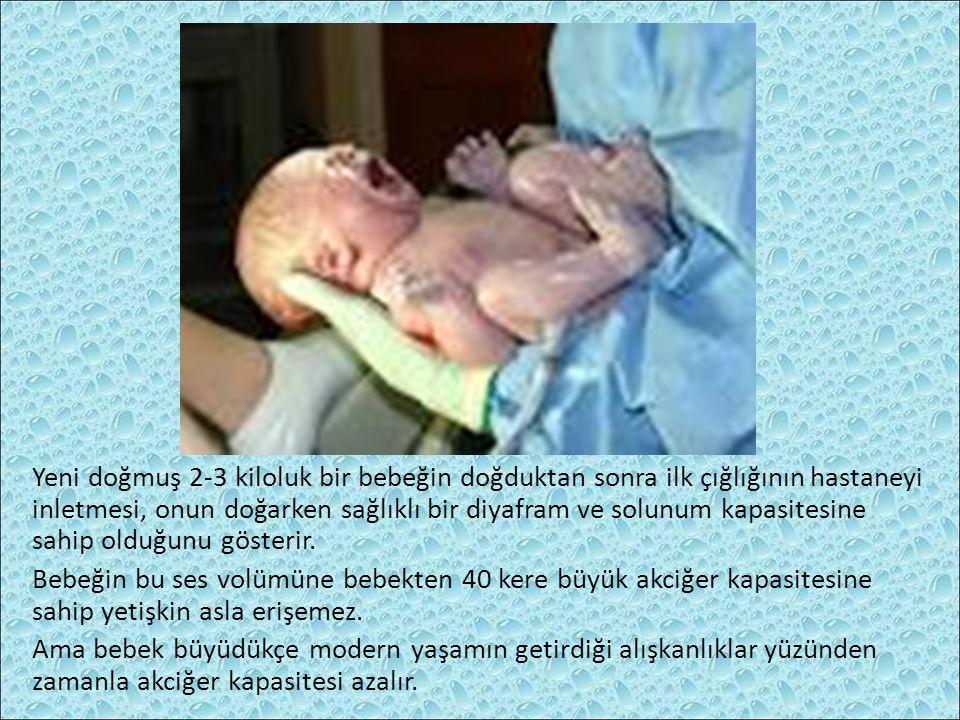 Yeni doğmuş 2-3 kiloluk bir bebeğin doğduktan sonra ilk çığlığının hastaneyi inletmesi, onun doğarken sağlıklı bir diyafram ve solunum kapasitesine sahip olduğunu gösterir.