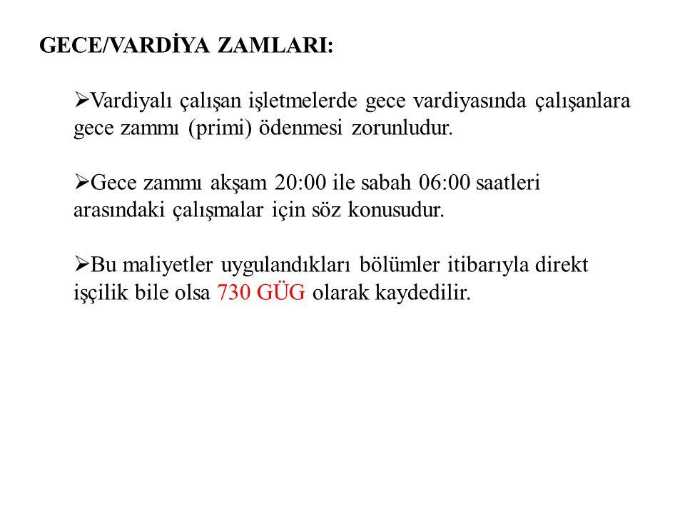 GECE/VARDİYA ZAMLARI: