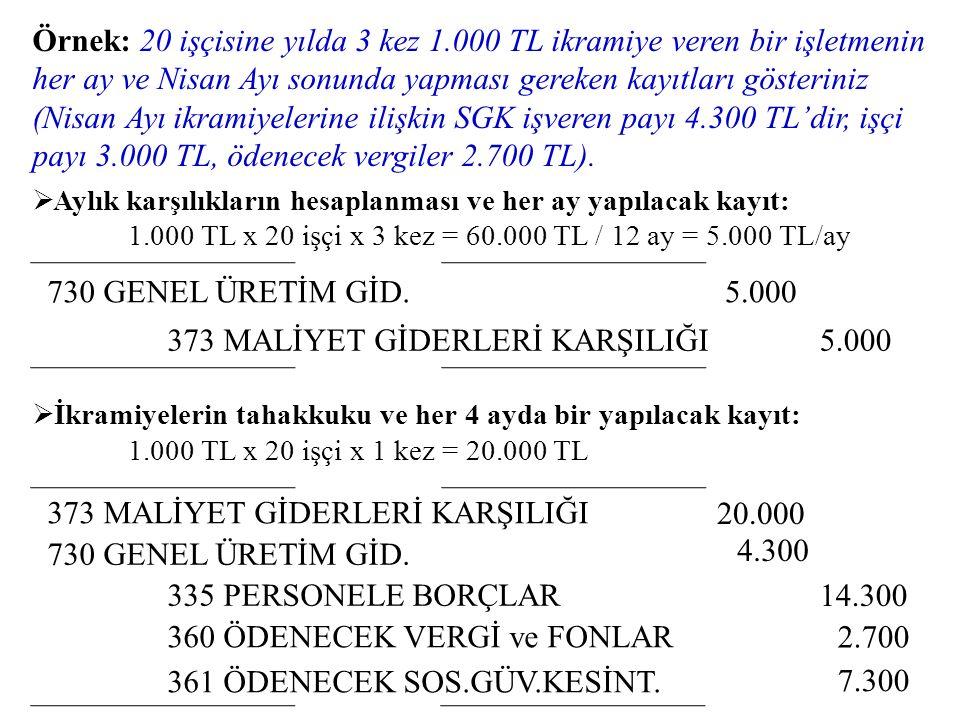 373 MALİYET GİDERLERİ KARŞILIĞI 5.000