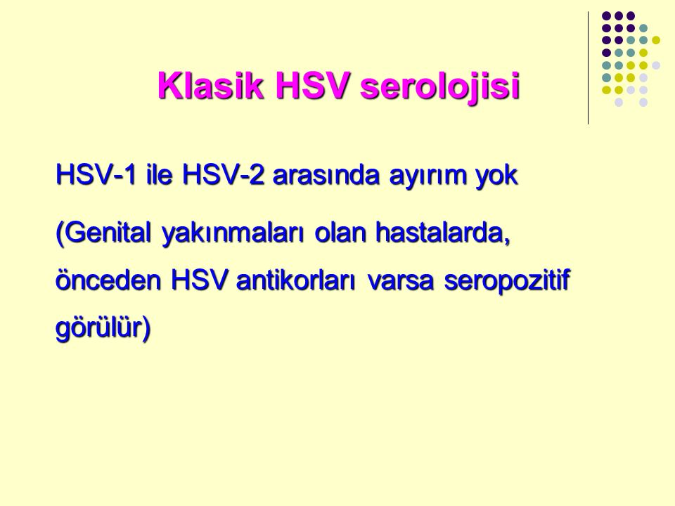 Klasik HSV serolojisi HSV-1 ile HSV-2 arasında ayırım yok