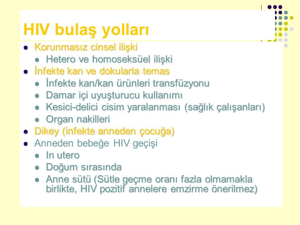 HIV bulaş yolları Korunmasız cinsel ilişki