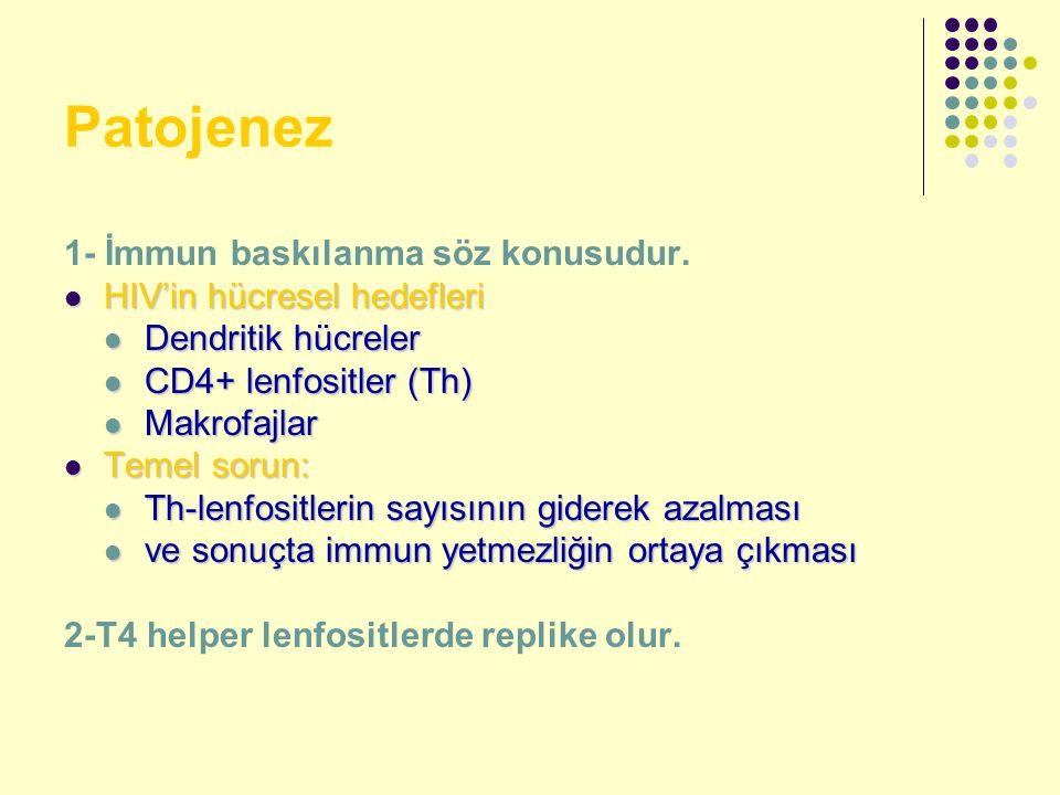 Patojenez 1- İmmun baskılanma söz konusudur. HIV'in hücresel hedefleri