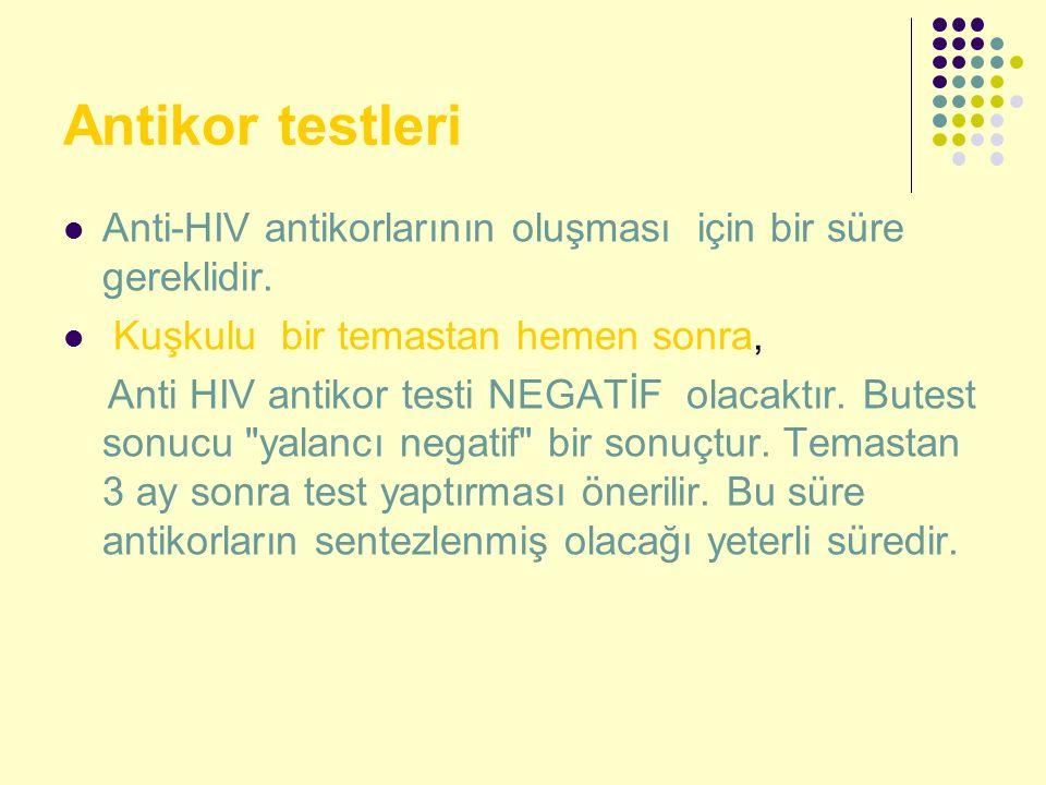 Antikor testleri Anti-HIV antikorlarının oluşması için bir süre gereklidir. Kuşkulu bir temastan hemen sonra,