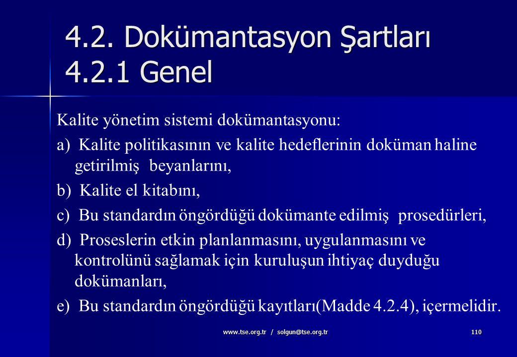 4.2. Dokümantasyon Şartları 4.2.1 Genel