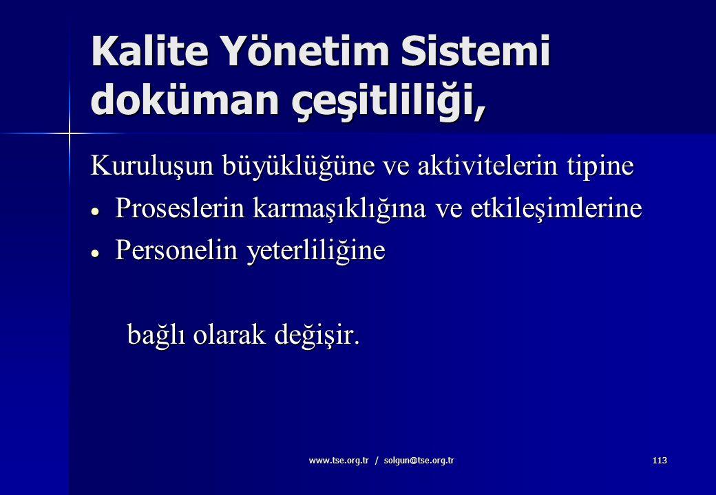 Kalite Yönetim Sistemi doküman çeşitliliği,
