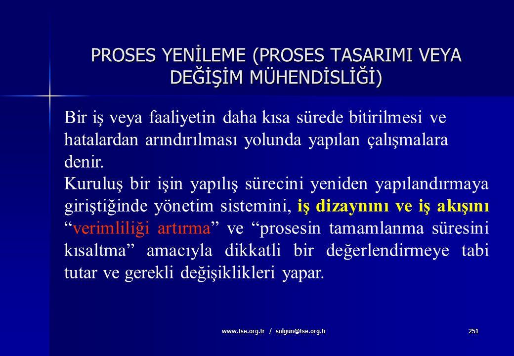 PROSES YENİLEME (PROSES TASARIMI VEYA DEĞİŞİM MÜHENDİSLİĞİ)
