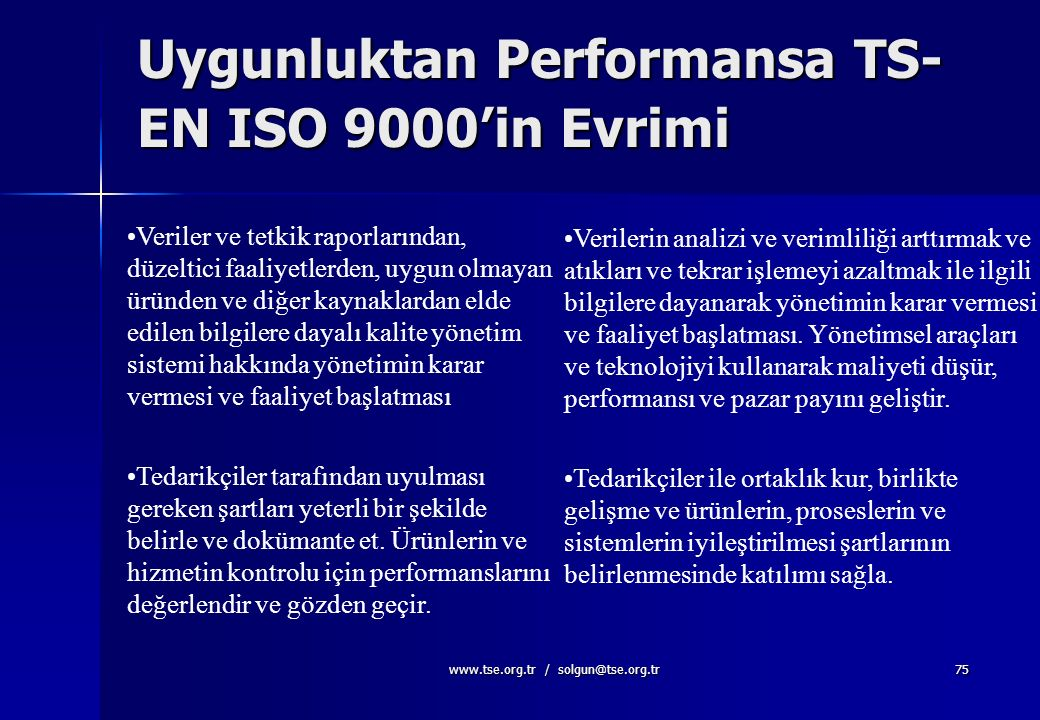 Uygunluktan Performansa TS-EN ISO 9000'in Evrimi