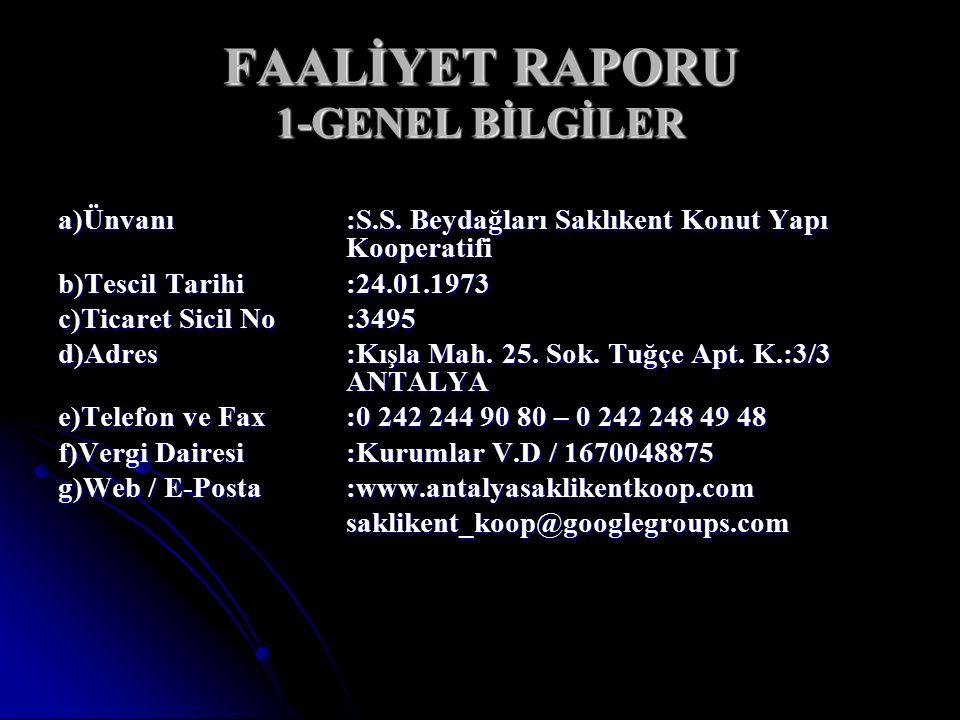 FAALİYET RAPORU 1-GENEL BİLGİLER