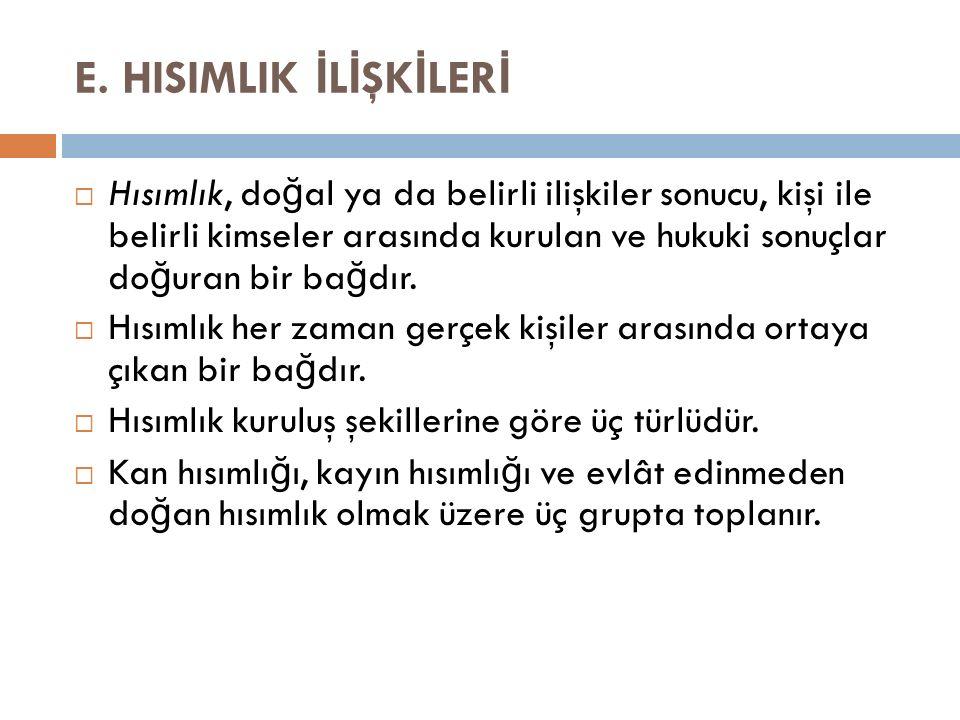E. HISIMLIK İLİŞKİLERİ