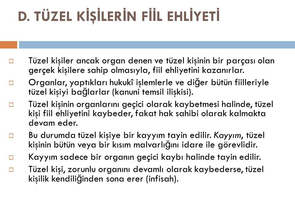 D. TÜZEL KİŞİLERİN FİİL EHLİYETİ