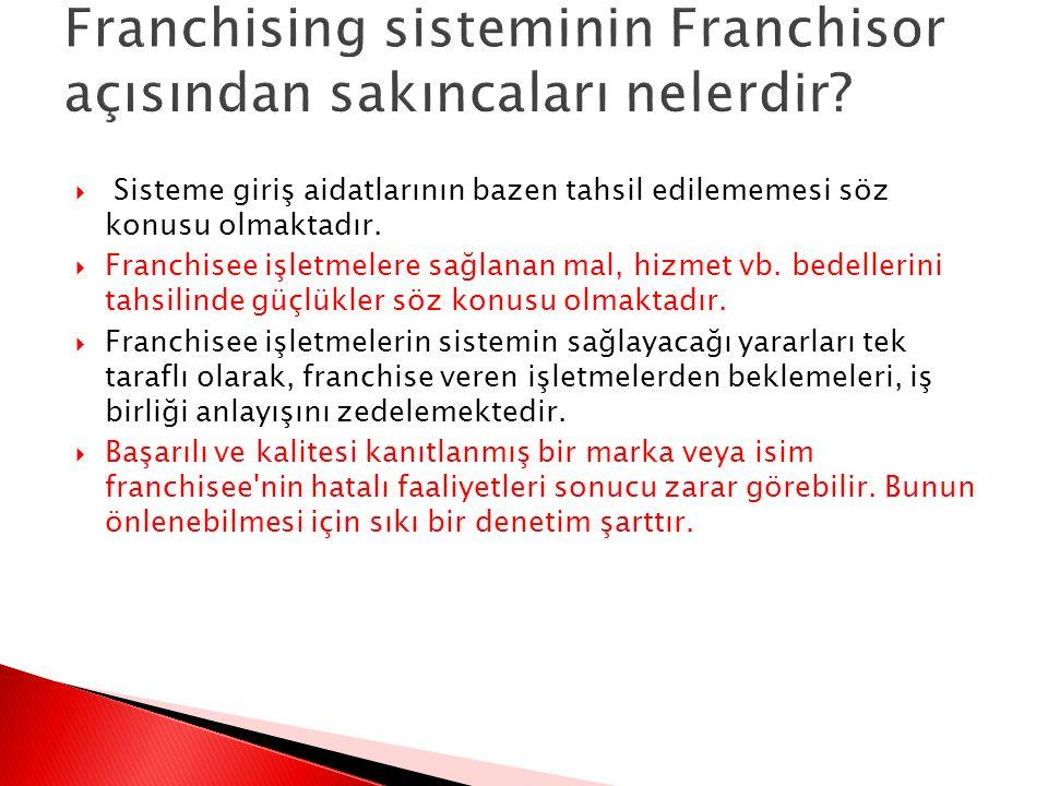 Franchising sisteminin Franchisor açısından sakıncaları nelerdir