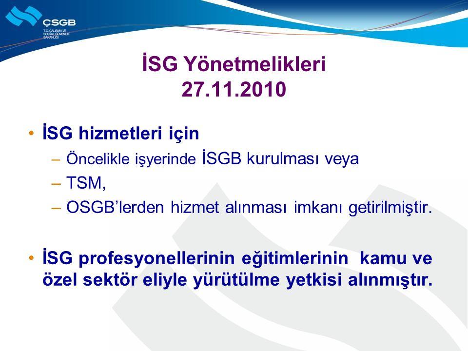 İSG Yönetmelikleri 27.11.2010 İSG hizmetleri için