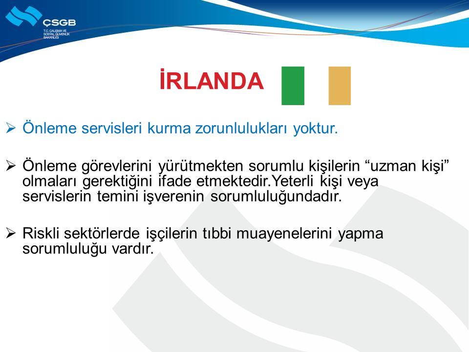 İRLANDA Önleme servisleri kurma zorunlulukları yoktur.