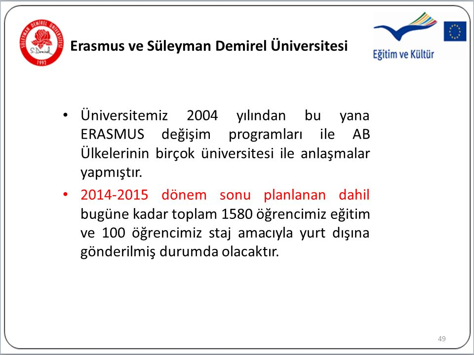 Erasmus ve Süleyman Demirel Üniversitesi