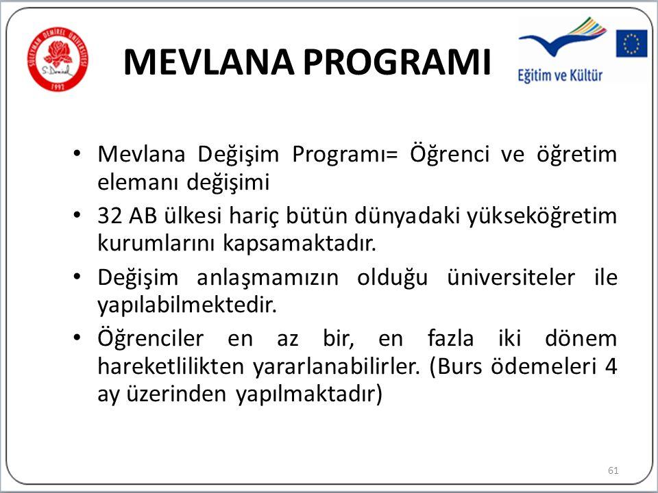 MEVLANA PROGRAMI Mevlana Değişim Programı= Öğrenci ve öğretim elemanı değişimi.