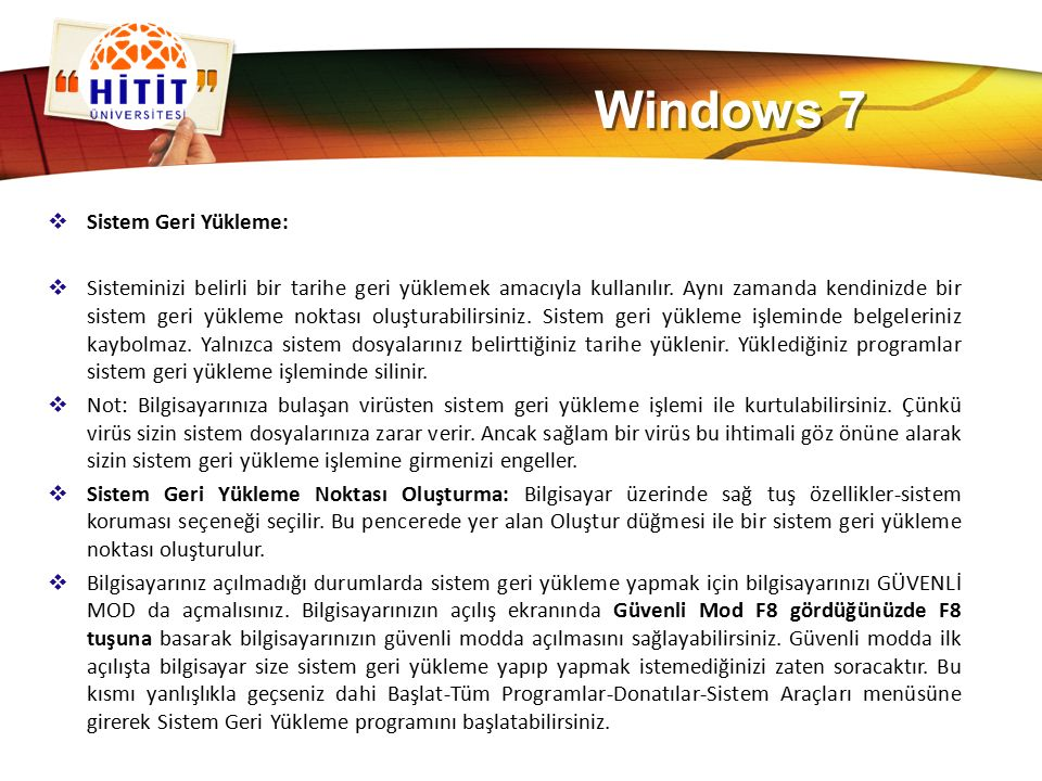 Windows 7 Sistem Geri Yükleme: