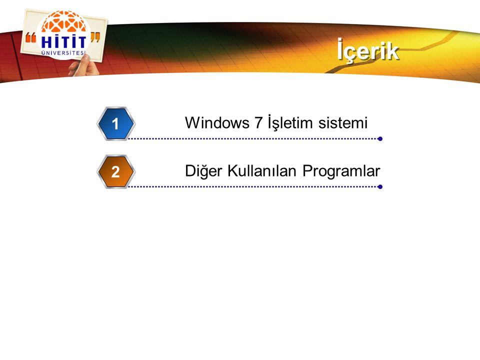 İçerik 1 Windows 7 İşletim sistemi 2 Diğer Kullanılan Programlar
