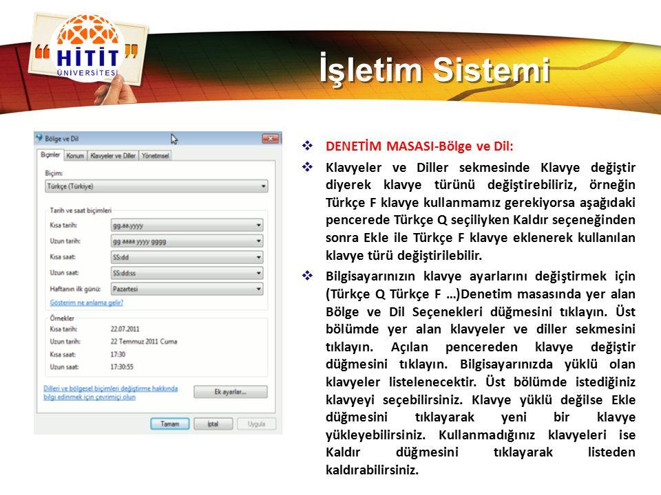 İşletim Sistemi DENETİM MASASI-Bölge ve Dil: