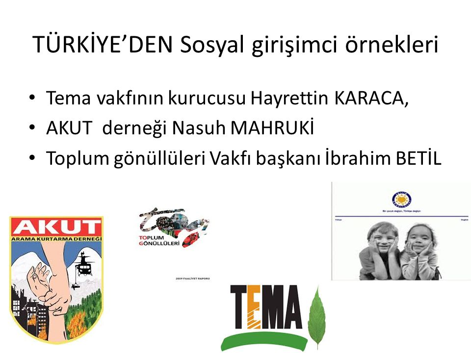 TÜRKİYE'DEN Sosyal girişimci örnekleri