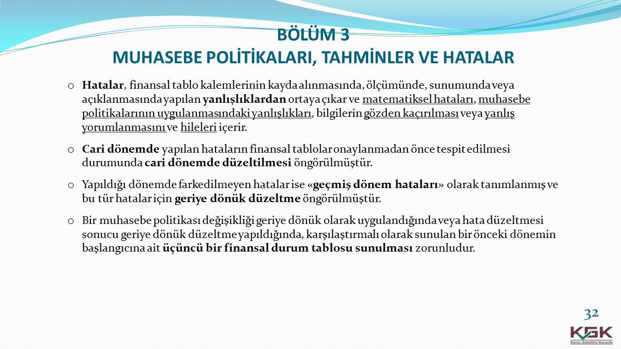 BÖLÜM 3 MUHASEBE POLİTİKALARI, TAHMİNLER VE HATALAR
