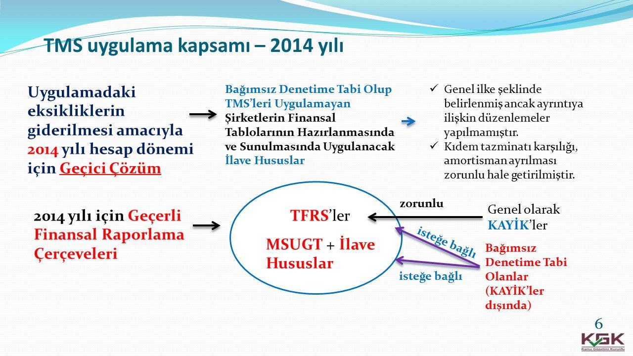 TMS uygulama kapsamı – 2014 yılı