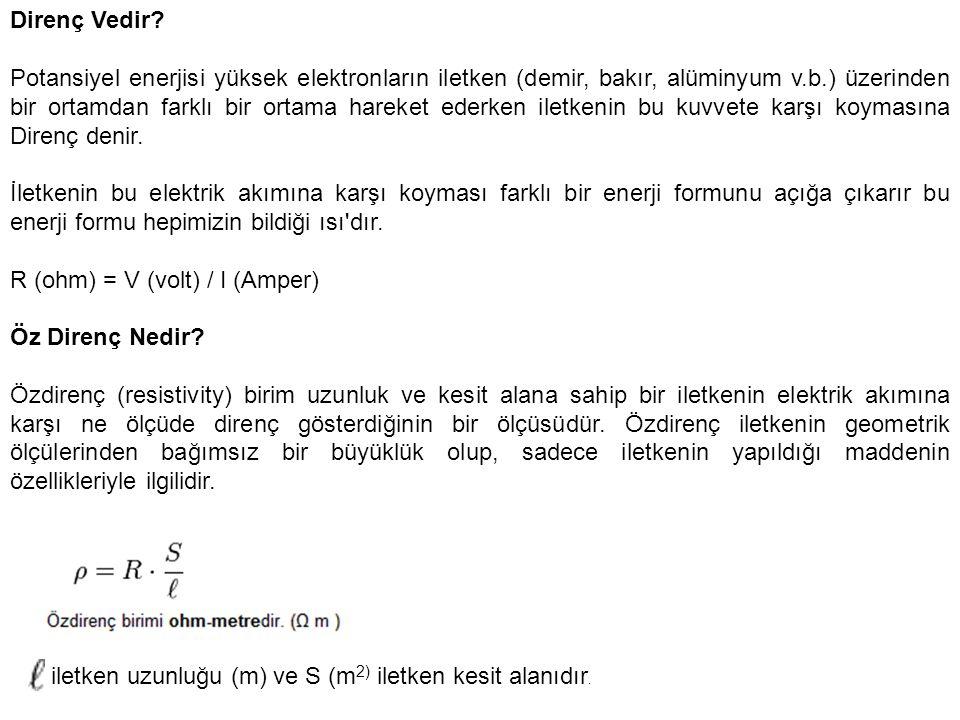 R (ohm) = V (volt) / I (Amper) Öz Direnç Nedir