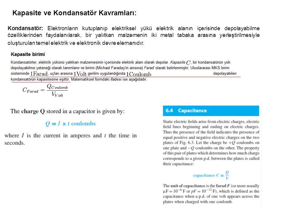 Kapasite ve Kondansatör Kavramları: