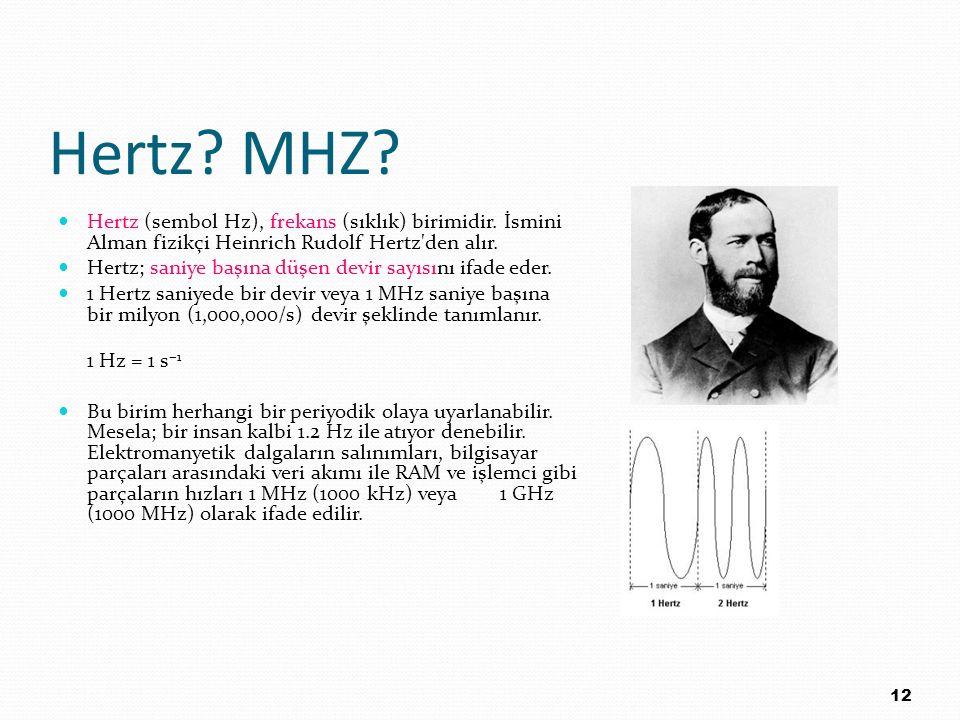 Hertz MHZ Hertz (sembol Hz), frekans (sıklık) birimidir. İsmini Alman fizikçi Heinrich Rudolf Hertz den alır.