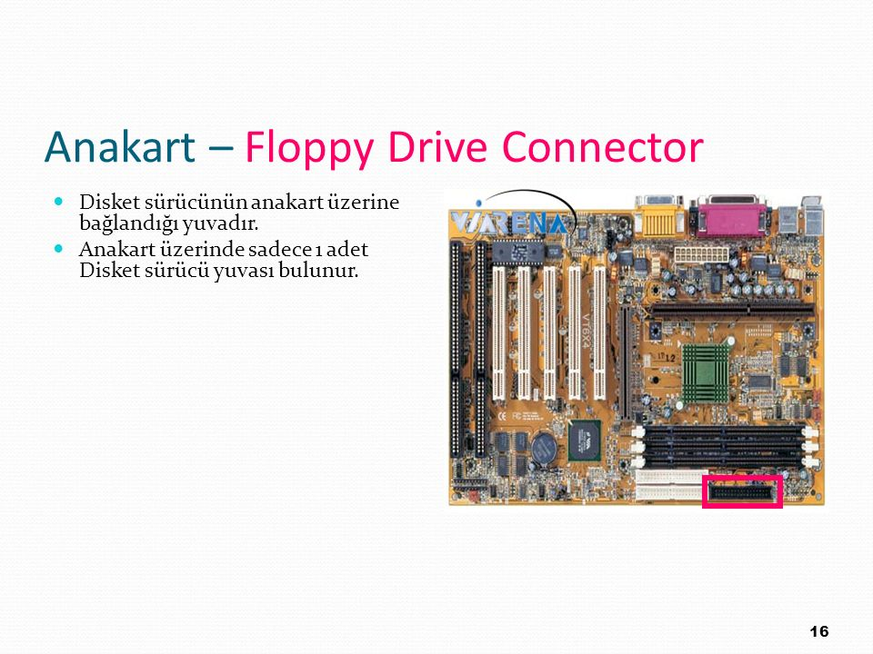 Anakart – Floppy Drive Connector
