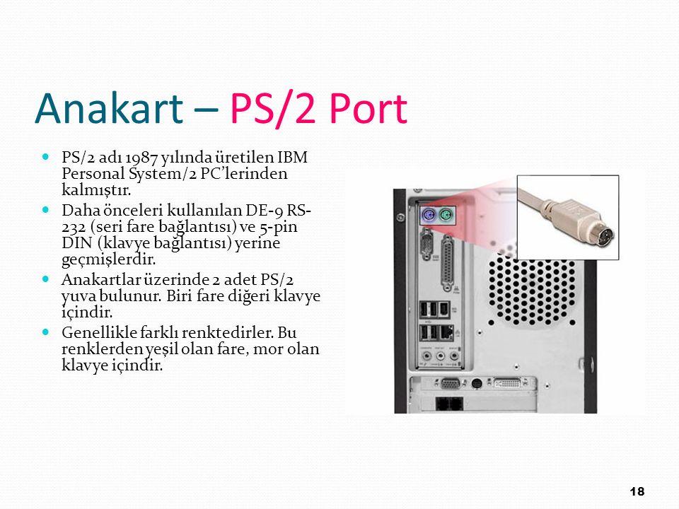 Anakart – PS/2 Port PS/2 adı 1987 yılında üretilen IBM Personal System/2 PC'lerinden kalmıştır.