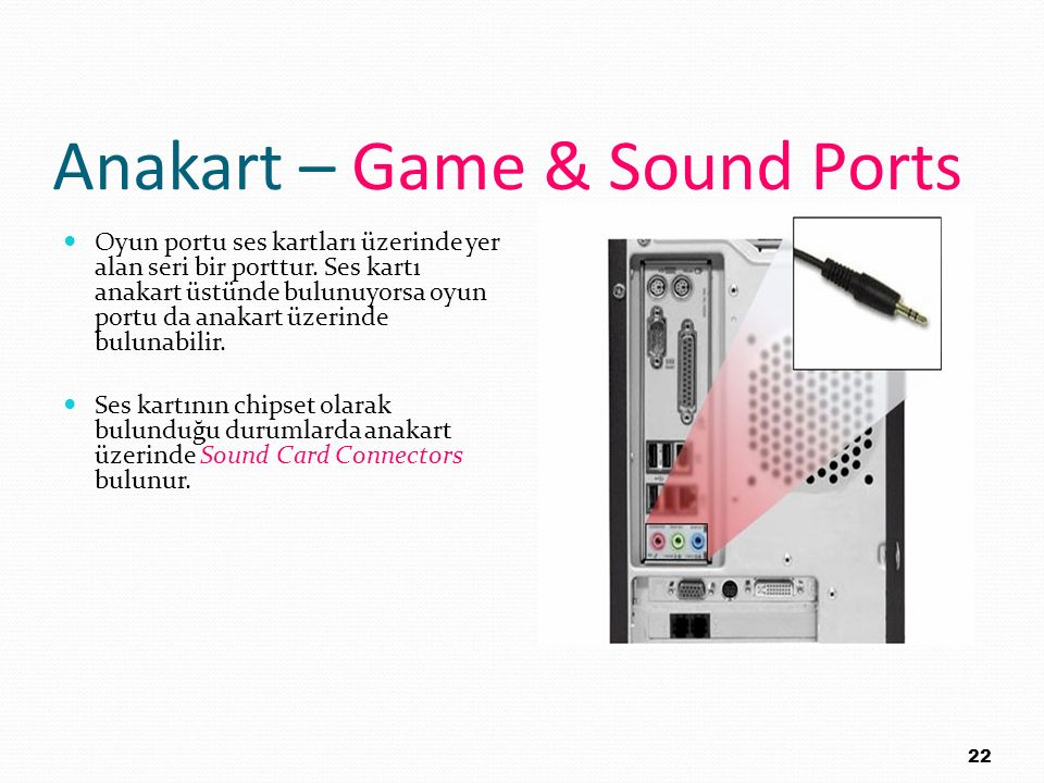Anakart – Game & Sound Ports
